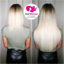 Окрашивание волос в красивый холодный блонд и наращивание 150 прядей (волосы клиентки)