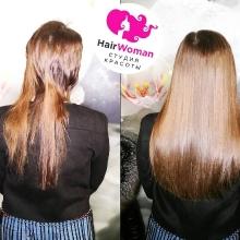 Так обстригли волосы. Затем не повезло попасть к другому мастеру.Она пришла в HairWoman! Результат вы можете видеть сами!