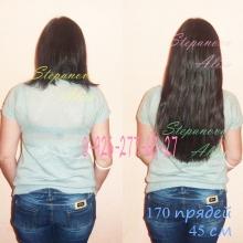 170 прядей волос длиной 45 см. Фото до и после процедуры наращивания, вид со спины